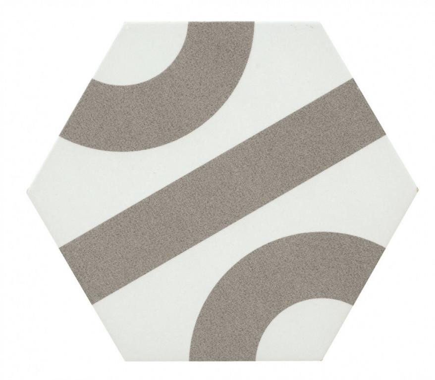 Šestiúhelníková dlažba DSIGNIO Roll White-Grey 25,8 x 29 cm