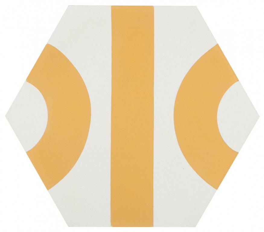 Šestiúhelníková dlažba DSIGNIO Roll White-Yellow 25,8 x 29 cm