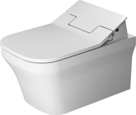 Závěsná keramická WC mísa P3 COMFORTS 57 x 38 se skrytým připojením s Duravit Rimless