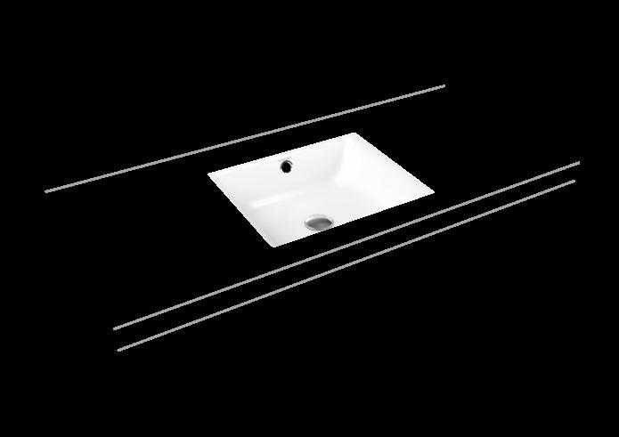 Vestavné umyvadlo zdola PURO s otvorem pro 1 baterii, Perl-Effekt