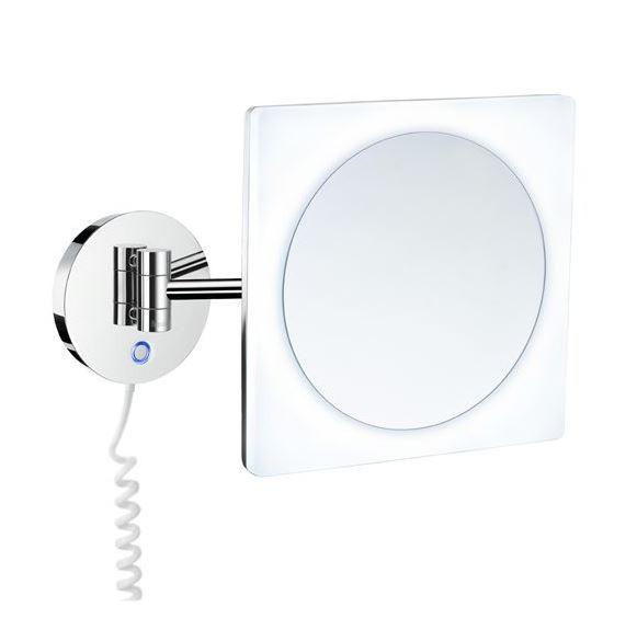 Kulaté kosmetické zrcátko v rámečku s LED osvětlením chrom OUTLINE 20 x 20 x 39 cm
