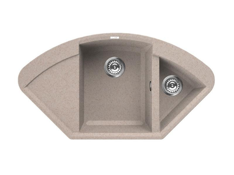 Kuchyňský rohový dřez Granitek EASY Corner, 1057 x 575 x 210-150 mm