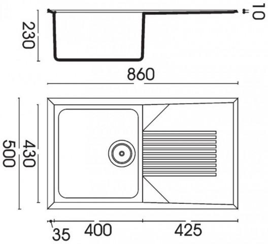 Kuchyňský dřez s odkapovou plochou Granitek TEKNO 400, 860 x 500 x 230 mm