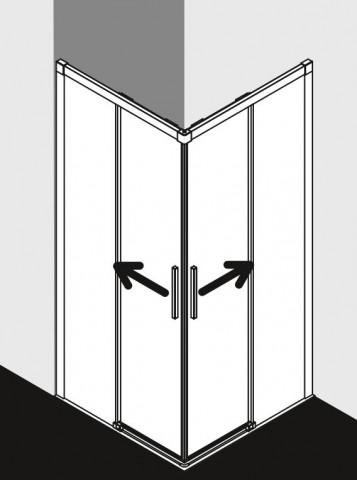 Rohový vstup 2-dílný - bezbariérové posuvné dveře