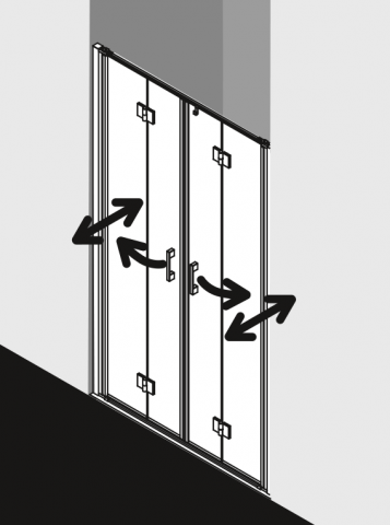 Kyvné zalamovací dveře čtyřdílné LIGA