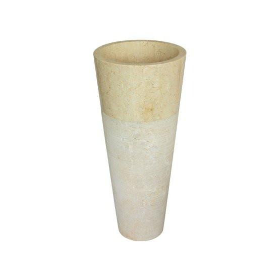 Dvoudílné kamenné umyvadlo Conico Beige ⌀40 x 90 cm