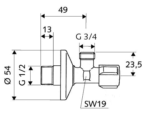 Pračkový připojovací ventil SCHELL COMFORT - rozměry