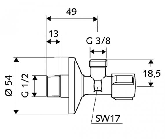 """Rohový regulační ventil SCHELL bez matky, 1/2"""" x 3/8"""""""