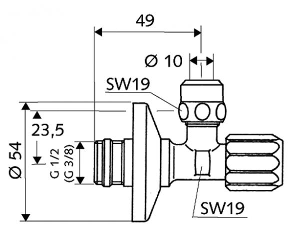 """Rohový regulační ventil SCHELL COMFORT s normálním filtrem s ASAG (samotěsnící závit), 1/2"""", chrom"""