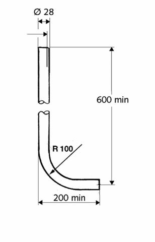 Splachovací trubka k WC, chrom, 60 x 20 cm