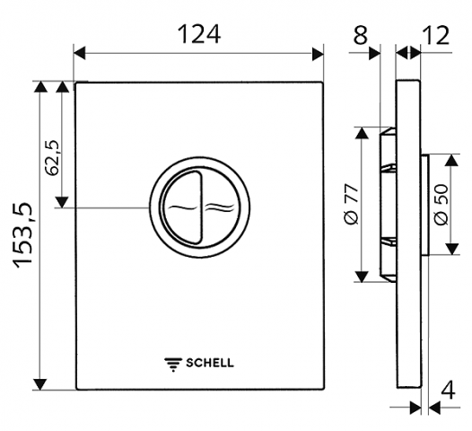Ovládací deska WC EDITION ECO chrom, 124 x 153,5 mm