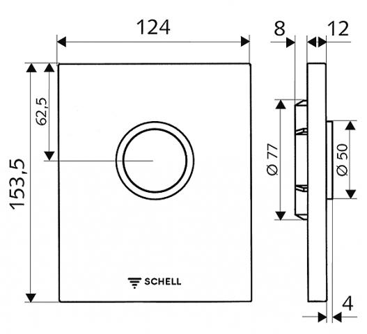 Ovládací deska pisoáru EDITION chrom, 124 x 153,5 mm, k podomítkové sadě COMPACT II