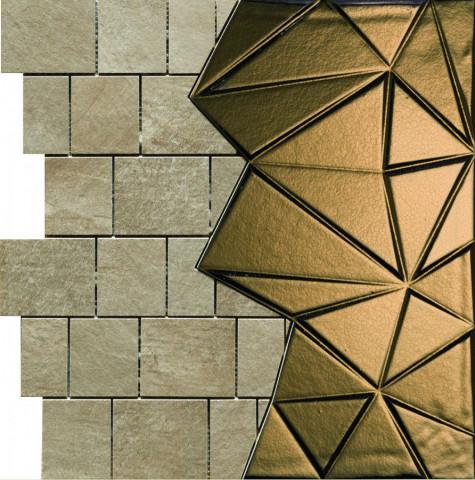 Mozaika CONCEPT STONE Bruno medio/oro 40 x 40 cm