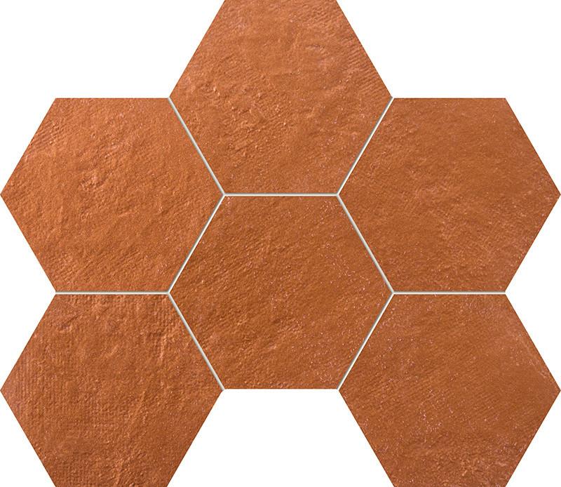 Hexagonová mozaika v imitaci mosazi CRUDE 28,9 x 22,1 cm