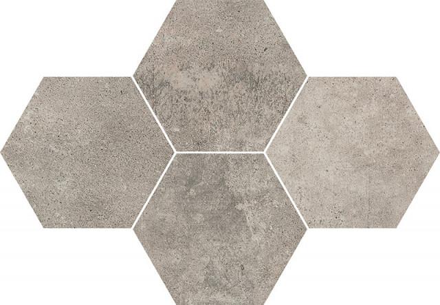Hexagonová dlažba v imitaci betonu GREY WIND Dark 28,3 x 40,8 cm rett.