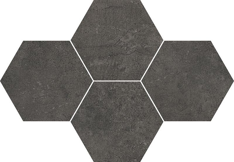 Hexagonová dlažba v imitaci betonu GREY WIND Antracite 28,3 x 40,8 cm rett.