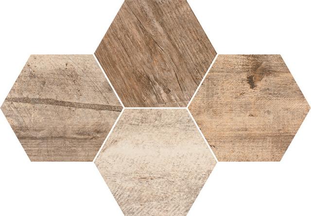 Hexagonová dlažba v imitaci dřeva GREY WIND Timber 28,3 x 40,8 cm rett.