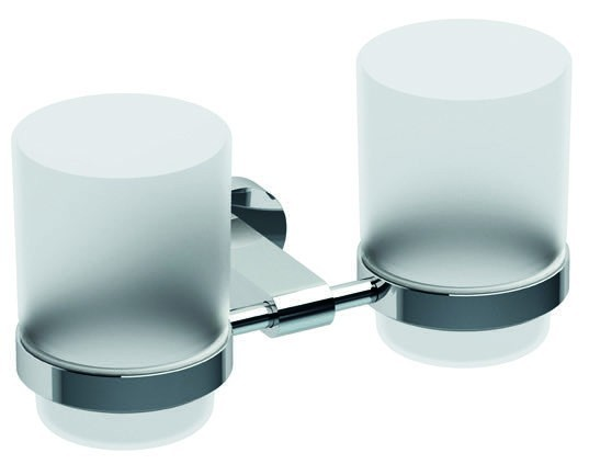 Dvojdržák se dvěma pohárky CHROME sklo