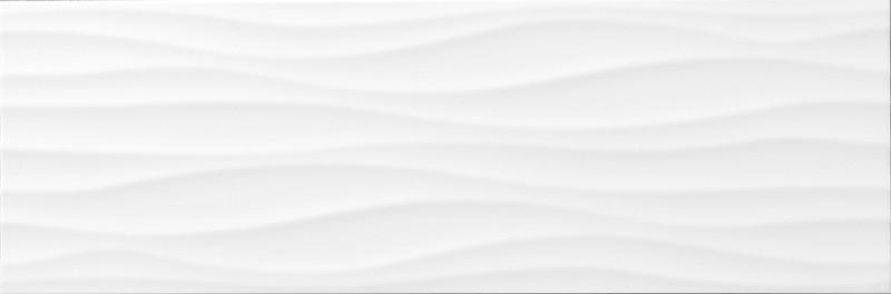 Lesklý bílý dekor WHITE ELEGANCE Waves 25 x 75 cm