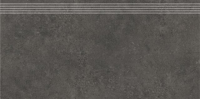 Schodovka v imitaci betonu GREY WIND Antracite 30x60 cm rett.