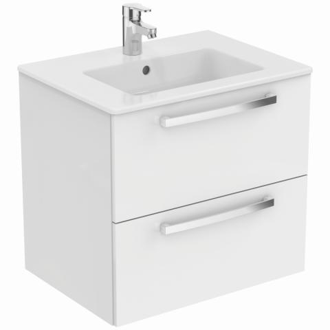 Set umyvadla a závěsně skříňky TEMPO 60 cm - dvě zásuvky, lesklá, bílá