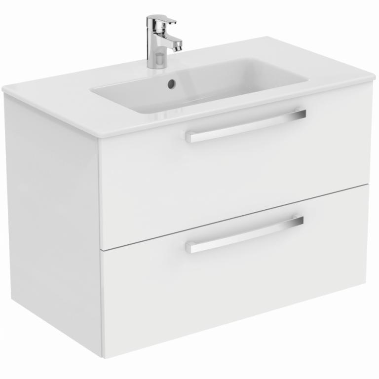 Set umyvadla a závěsně skříňky TEMPO 80 cm - dvě zásuvky, lesklá, bílá