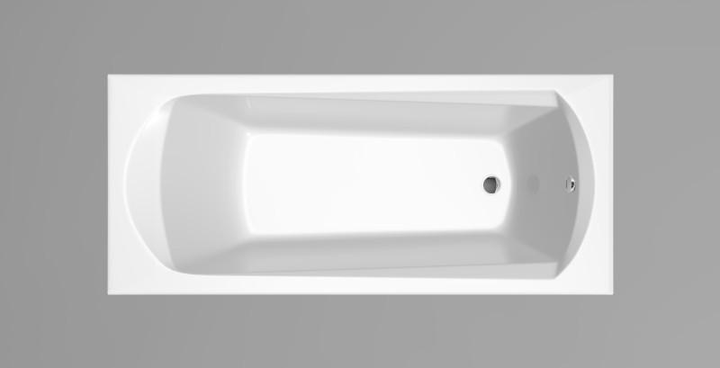 Bílá vestavná akrylátová vana DOMINO 170 x 75 x 45, bez nohou