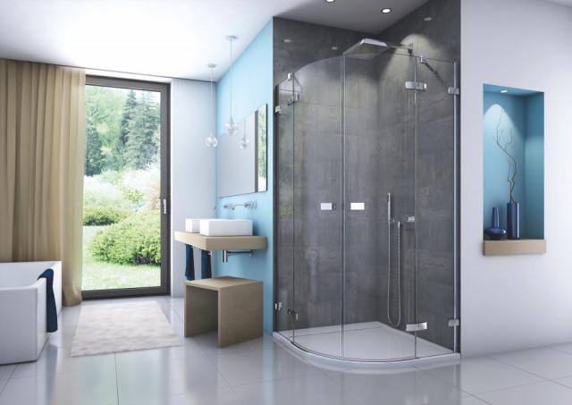 Sprchový kout čtvrtkruh s dvoukřídlými dveřmi ESCURA 900