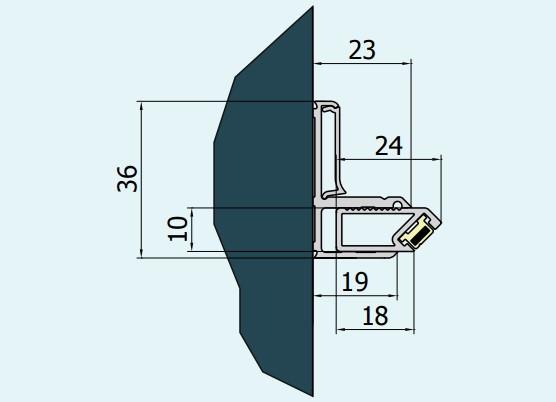 Nástěnný profil s magnetickým těsněním pro montáž dveří do niky, výška 2 000 mm