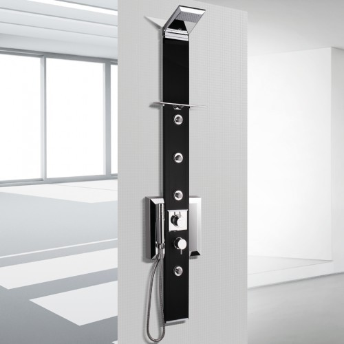 Nástěnný sprchový panel s termostatickou baterií PRISMA 140 BLACK bez chromoterapie