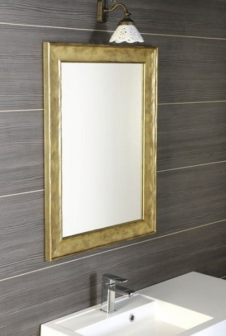 Zrcadlo v dřevěném rámu BERGARA bronz