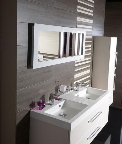 Zrcadlo LENA s LED osvětlením, bílá 120 x 50 cm