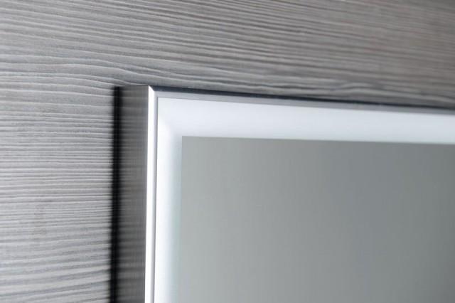 Zrcadlo v hliníkovém rámu LUMINAR s LED osvětlením, chrom 70 x 50 cm
