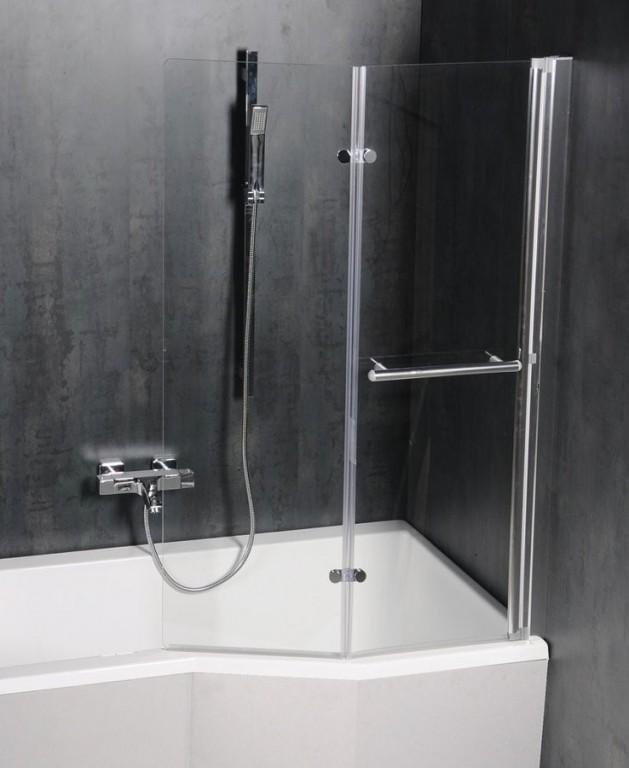 Pneumatická vanová zástěna ODESSA 970 mm, stříbrný rám, čiré sklo