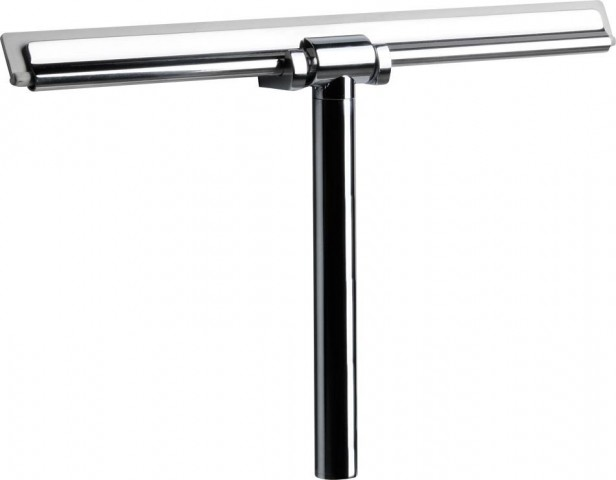 Kovová stěrka na sklo do sprchy s uchycením na zeď, chrom