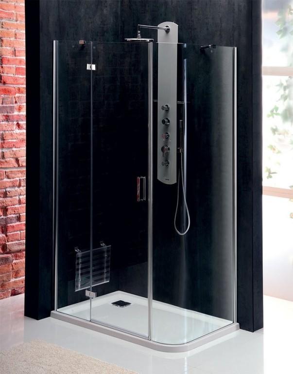 Bezrámová obdélníková pantová sprchová zástěna se zaobleným rohem VITRA LINE