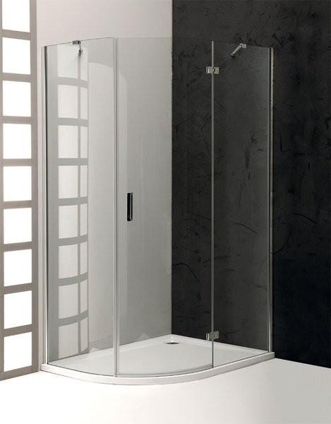 Bezrámová čtvrtkruhová pantová sprchová zástěna R550 s prodlouženou stěnou VITRA LINE